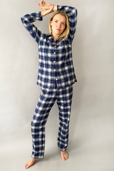 Blue & White check brushed Classic Pyjama Set