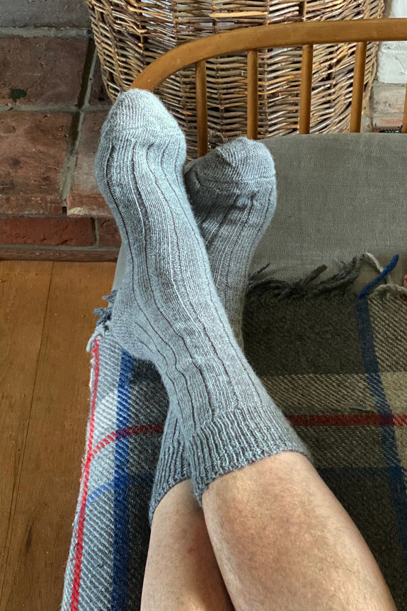 Mens Grey Alpaca Bed Socks