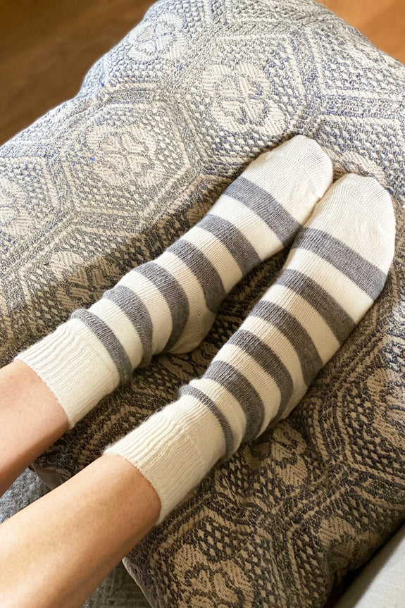 Cream & Grey Striped Alpaca All Day Socks