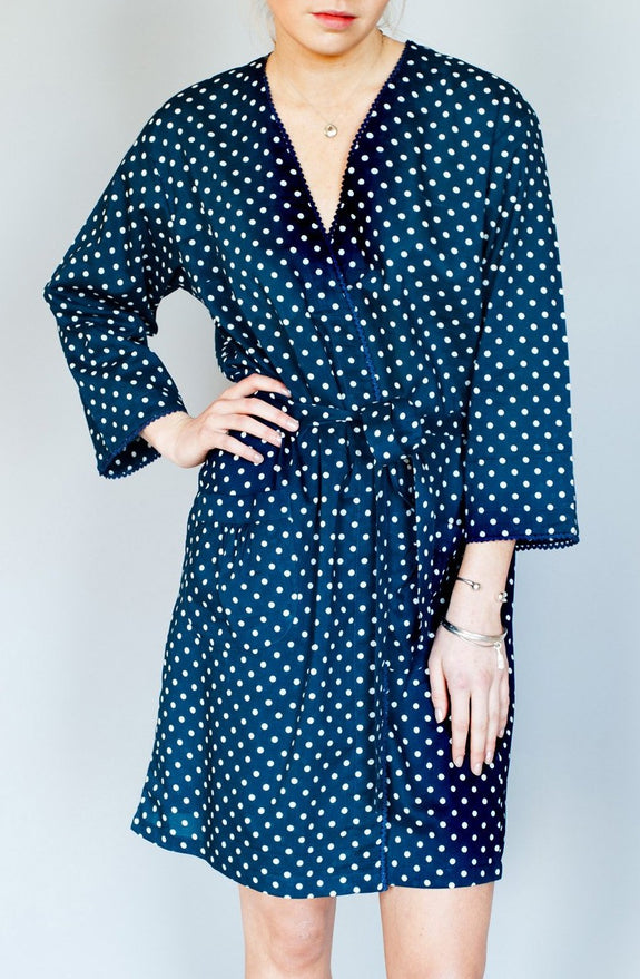 Navy Polka Dot Short Robe