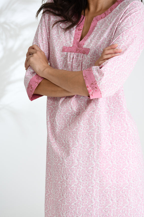 Pink Leaf Florence Kaftan Nightie