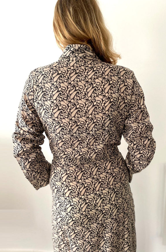 Black Paisley print Dressing Gown