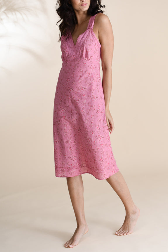 Dusky Pink Floral Very Lacey Nightie