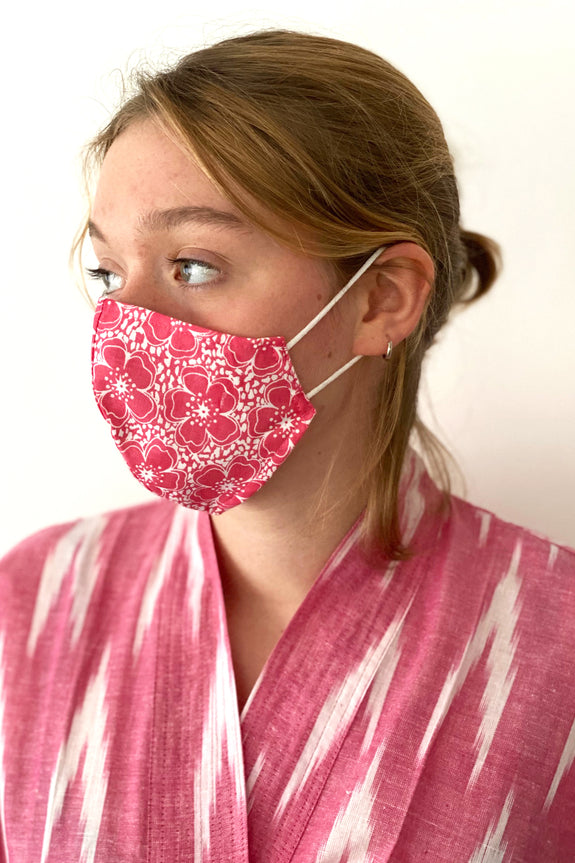 Red Poppy cotton print reusable face mask