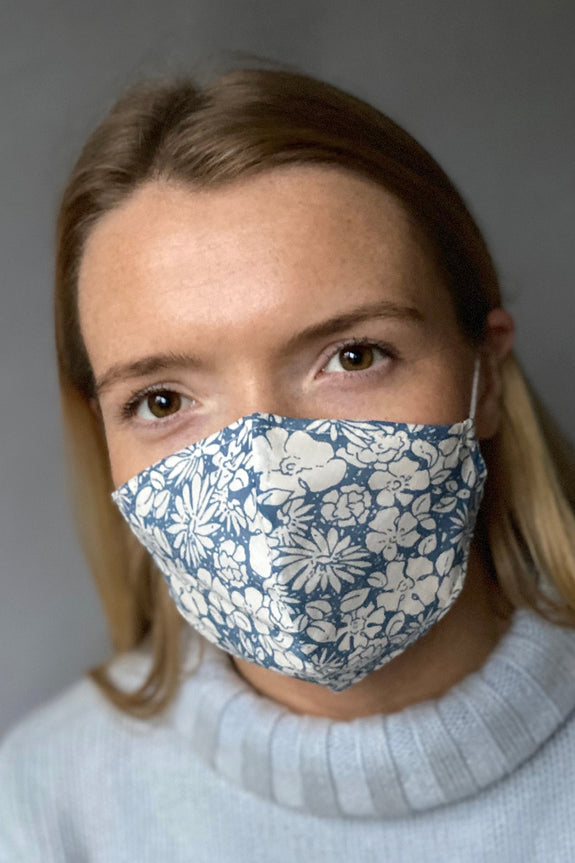 Slate Flowerburst cotton print reusable face mask