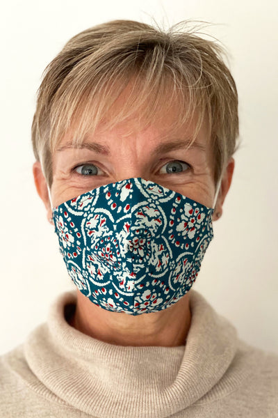 Teal Batik Tile cotton print reusable face mask