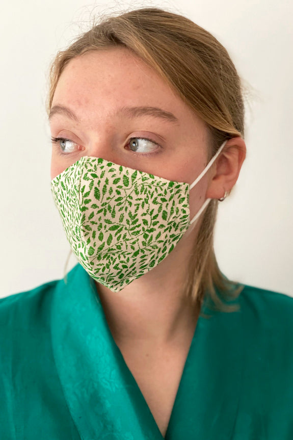 Winding Leaves cotton print reusable face mask