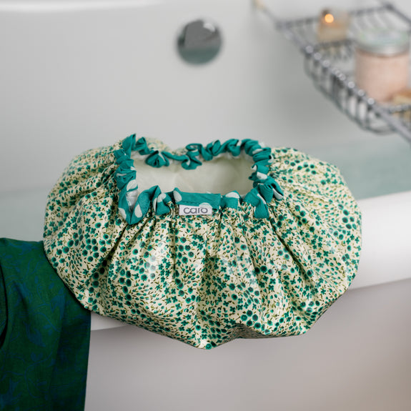 Green Ditzy Buds Shower Cap