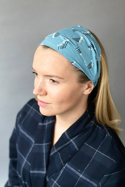 Blue Daisy Bunch Headband
