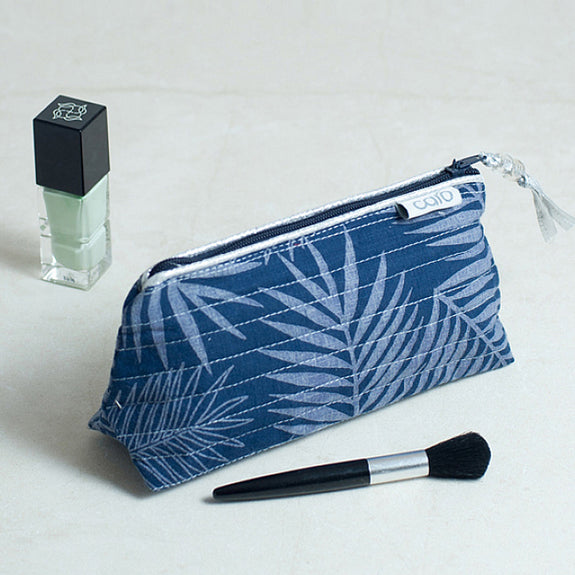 Navy Fern Mini Make up bag