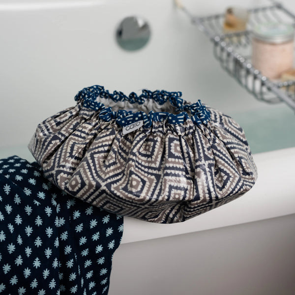 Navy & Taupe Diamonds Shower Cap