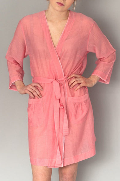 Pink Silk Short Robe
