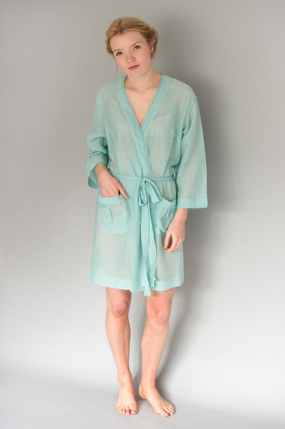 Sky Silk/Cotton Short Robe