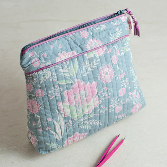 Grey French Fleurs Tall Make up bag