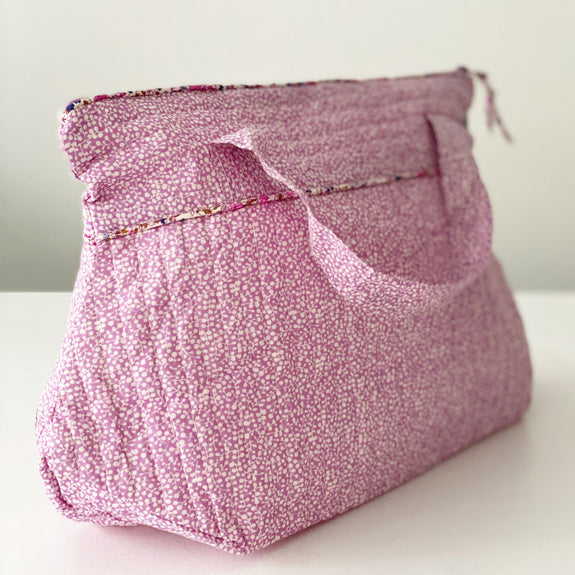 Lilac Scatter Leaf Tall Washbag with handles