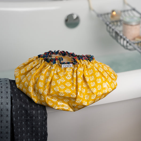 Yellow Handblock Shower Cap