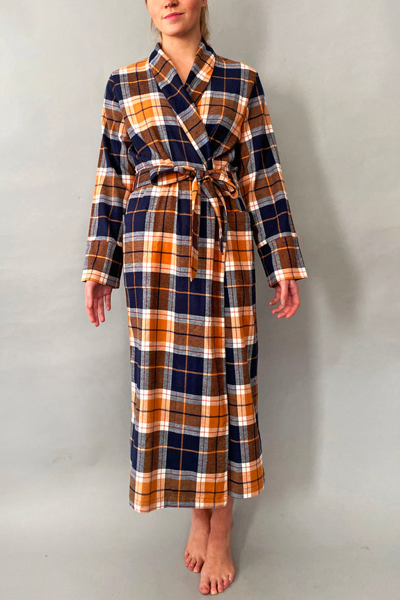 Blue & Orange Brushed cotton Dressing Gown