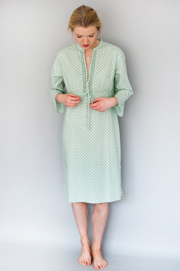 Green Spotty Dotty Kaftan Nightie