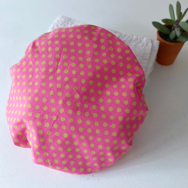 Pink & Green Spot Bath Hat