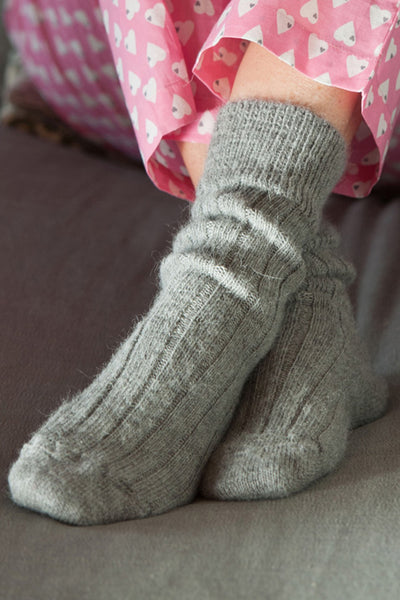 Soft Grey Alpaca Bedsocks