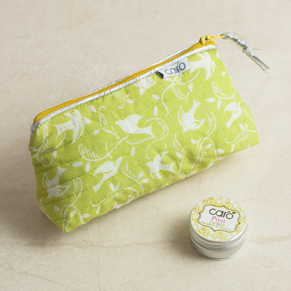 Yellow Swallows Mini Make up bag