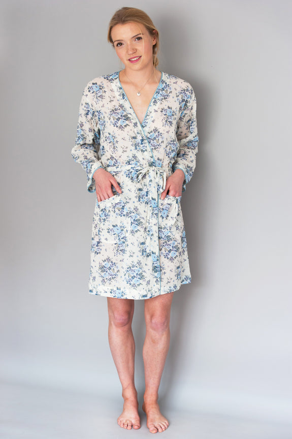 Blue Chintz floral Short Robe