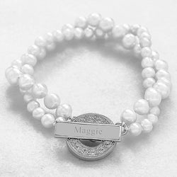 Personalized Pearl Bracelet with Rhinestone Toggle - White