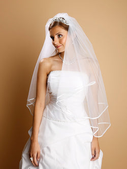 2-Tier Circular Cut Wedding Veil with Folded Satin Ribbon Edging