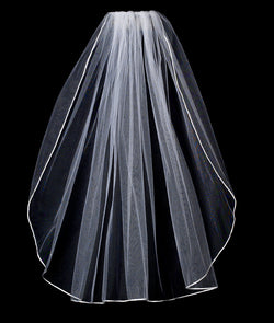 Bridal Veil Rattail Satin Corded Edge Veil 1 Layer Elbow Length Veil
