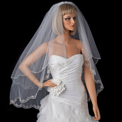 Bridal Veil Embroidered Edge Fingertip Waltz