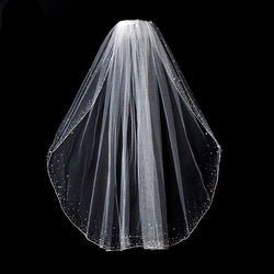 Bridal Veil - Single Layer Elbow Length w/Crystals