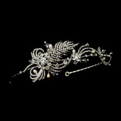 Antique Silver Crystal & Pearl Bridal Headpiece Headpiece