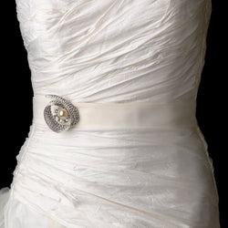 Belt with Antique Ivory Pearl & Crystal Brooch
