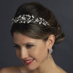 Antique Silver Diamond White Pearl & Marquise Crystal Side Accented Tiara Headband