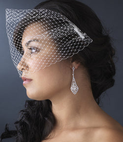 Bridal Fine Single Layer Birdcage Face Veil with Side Comb