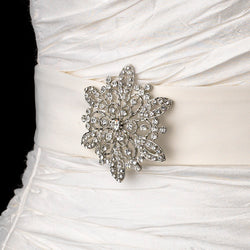 Belt with Vintage Crystal Snowflake Brooch