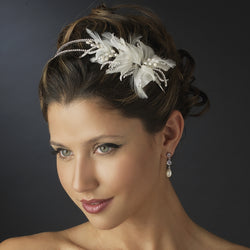 Antique Silver Ivory Pearl & Clear Rhinestone Floral Feather Fabric Side Accented Bridal Feather Headband Headpiece