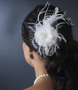 Feather Fascinator with Russian Veiling Accent Comb