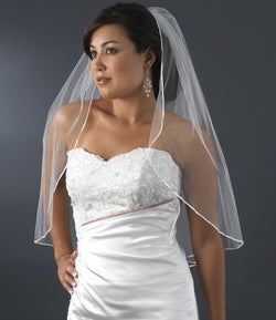 Bridal Veil  Satin Ribbon Edge Veil 1 Layer Elbow Length Veil