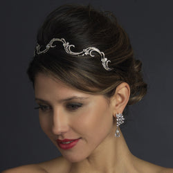 Antique Silver Rhinestone Bridal Vine Headband Headpiece