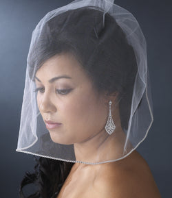 Bridal Single Layer Fine Birdcage Face Veil with Glistening Rhinestone Edge