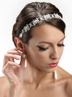 Swarovski Crystal Bridal Headband with Ribbon