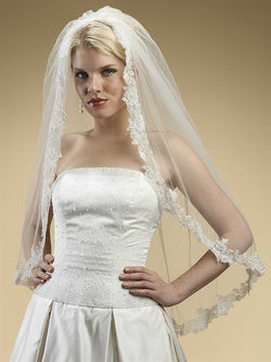 Alencon Lace Embroidered Mantilla Wedding Veil