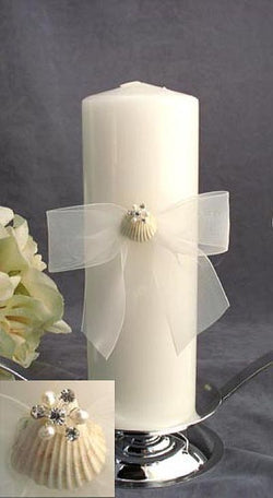 Rhinestone Shell Hawaiian Beach Wedding Unity Candle