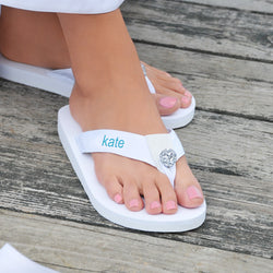 Personalized Flip Flops - Available in  Black or White - S-M-L-XL