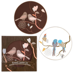 Love Birds Cork Back Coaster Set in Gift Packaging