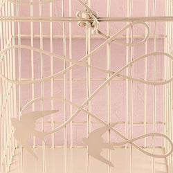 Modern Decorative Birdcage with Birds in Flight - Ivory or White