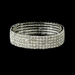 5 Row Swarovski Rhinestone Stretch Bracelet - Available in a variety of colors