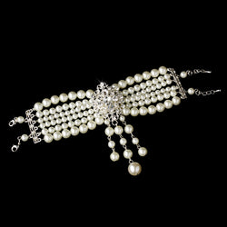 Classic Bridal Bracelet in Silver/White or Silver/Ivory