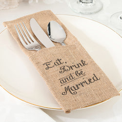 Eat, Drink and Be Married Burlap Silverware Holder - Set of 4